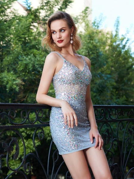 Stylish Sheath/Column Straps Sleeveless Spaghetti Net Sequin Short/Mini Dresses