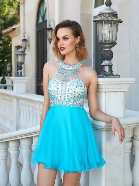 Fashion A-Line/Princess Beading Sleeveless Halter Chiffon Short/Mini Dresses