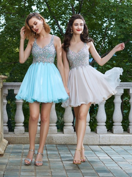 Fashion A-Line/Princess Straps Sleeveless Rhinestone Short/Mini Chiffon Dresses