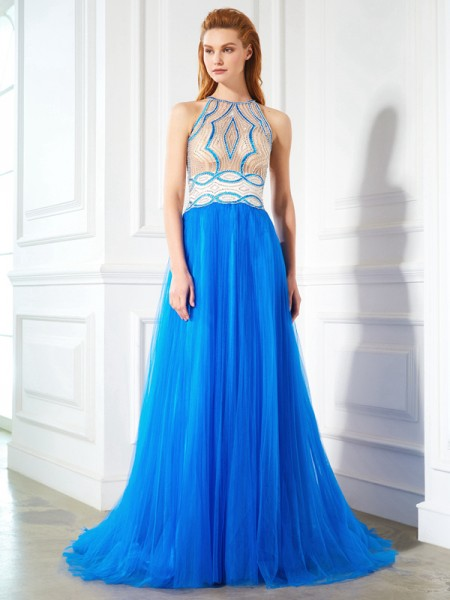 Stylish A-Line/Princess Beading Sleeveless Jewel Floor-Length Net Dresses