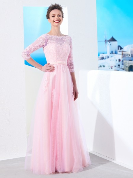 Stylish A-Line/Princess 1/2 Sleeves Floor-Length Bateau Applique Tulle Dresses