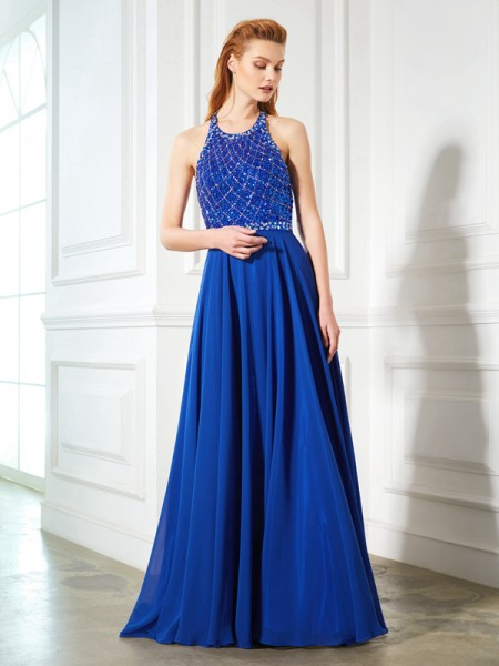 Fashion A-Line/Princess Sleeveless Beading Jewel Chiffon Sweep/Brush Train Dresses