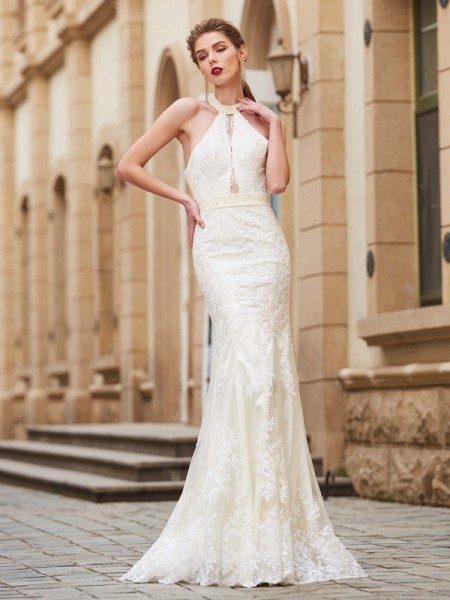 Fashion Sheath/Column Sleeveless Floor-Length Jewel Applique Lace Dresses