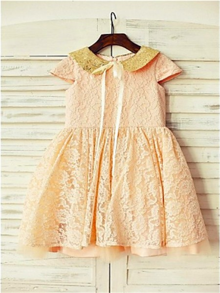 A-line/Princess Short Sleeves Scoop Sequin Tea-Length Lace Flower Girl Dresses
