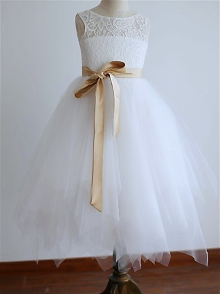 Stylish A-line/Princess Ankle-Length Sash/Ribbon/Belt Sleeveless Scoop Tulle Flower Girl Dresses