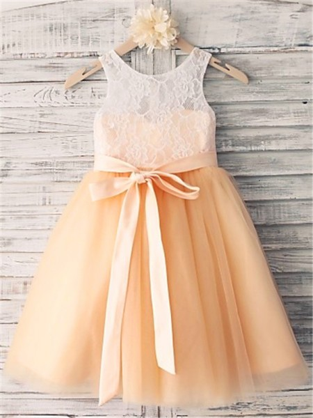 Fashion A-line/Princess Tea-Length Sash/Ribbon/Belt Scoop Sleeveless Tulle Flower Girl Dresses