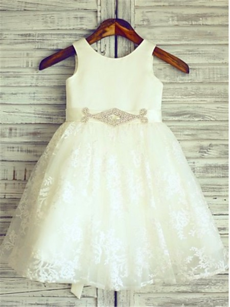 Fashion A-line/Princess Tea-Length Sleeveless Sash/Ribbon/Belt Scoop Lace Flower Girl Dresses