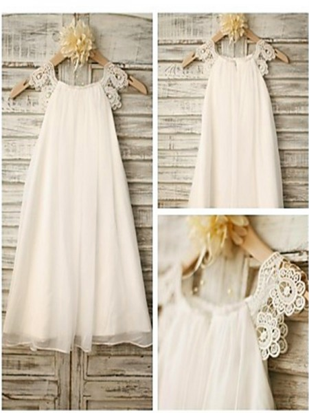 Fashion A-line/Princess Ankle-Length Lace Sleeveless Scoop Chiffon Flower Girl Dresses