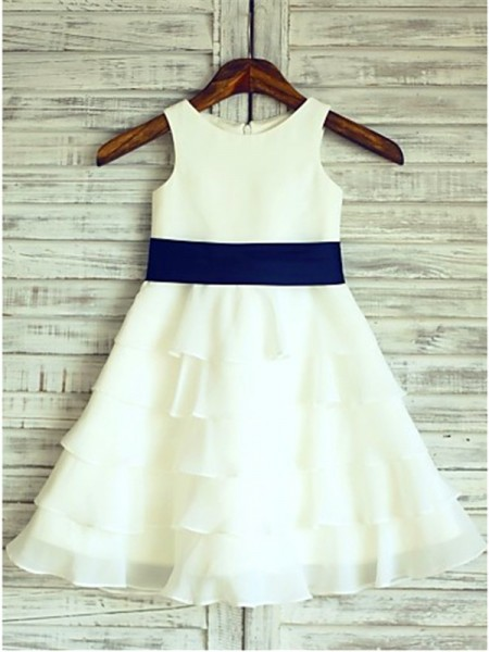 Stylish A-line/Princess Tea-Length Ruffles Scoop Sleeveless Chiffon Flower Girl Dresses
