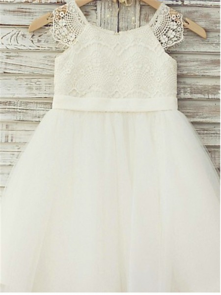 A-line/Princess Scoop Sleeveless Lace Floor-Length Tulle Flower Girl Dresses