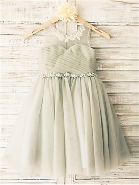 Fashion A-line/Princess Tea-Length Beading Sleeveless Scoop Tulle Flower Girl Dresses