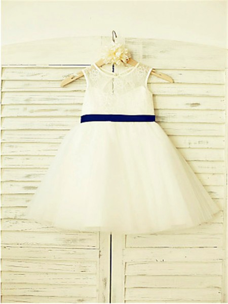 A-line/Princess Scoop Sleeveless Bowknot Floor-Length Tulle Flower Girl Dresses