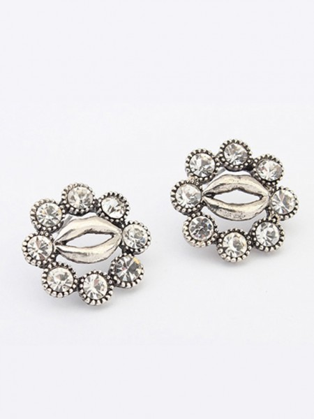 Fashion Trends Occident Metallic Personality Hyperbolic Lips Stud Hot Sale Earrings
