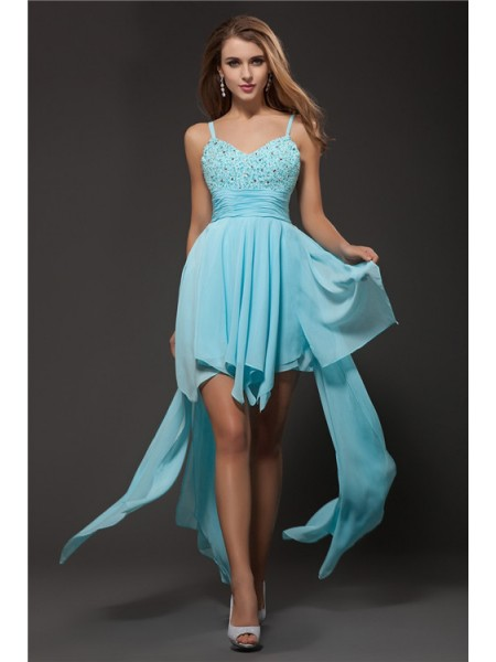 Fashion A-Line/Princess Straps Sleeveless Spaghetti Rhinestone Chiffon Cocktail Dresses