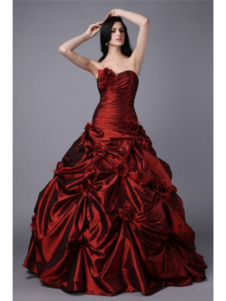 Stylish Ball Gown Sleeveless Hand-Made Strapless Flower Long Taffeta Dresses