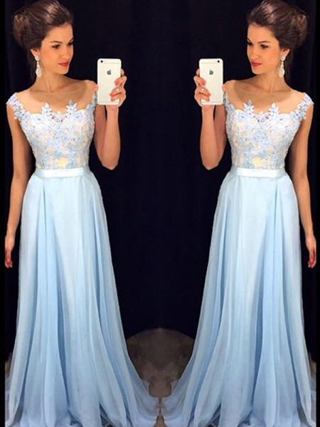 Stylish A-Line/Princess SheerNeck Applique Sleeveless Chiffon Sweep/Brush Train Dresses