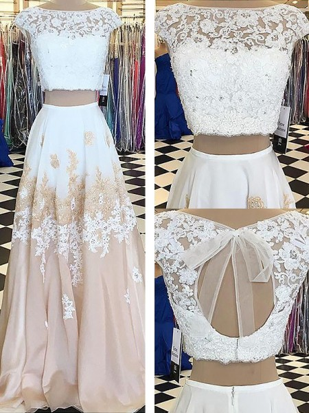 A-Line/Princess Sleeveless Bateau Chiffon Lace Floor-Length Two Piece Dresses