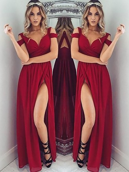 A-Line/Princess Off-the-Shoulder Sleeveless Floor-Length Ruched Chiffon Dresses