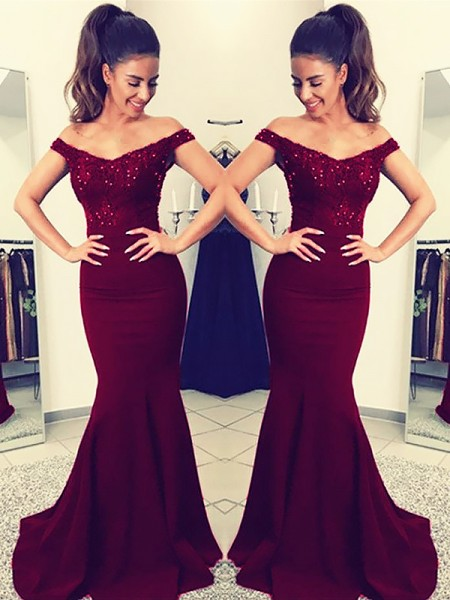 Trumpet/Mermaid Off-the-Shoulder Sleeveless Sweep Train Lace Satin Dresses