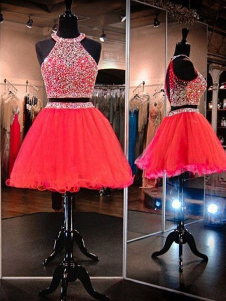 Short/Mini A-Line/Princess Sleeveless Halter Tulle Dresses
