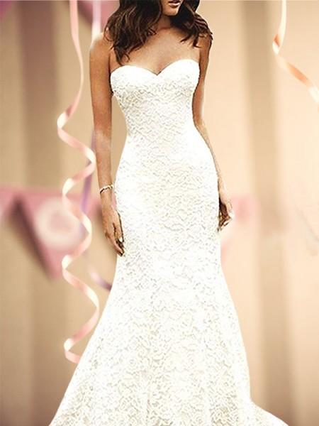Sweep/Brush Train Trumpet/Mermaid Sweetheart Sleevleses Lace Wedding Dresses