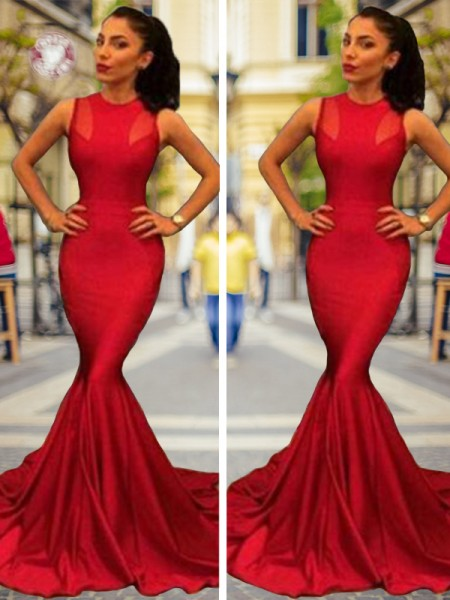 Trumpet/Mermaid Sleeveless Jewel Court Train Elastic Woven Satin Dresses