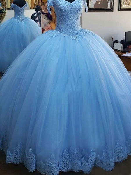 Ball Gown Sleeveless Off-the-Shoulder Sweep/Brush Train Lace Tulle Dresses