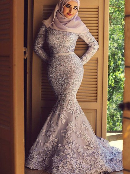 Trumpet/Mermaid Long Sleeves Scoop Sweep/Brush Train Ruffles Lace Muslim Dresses