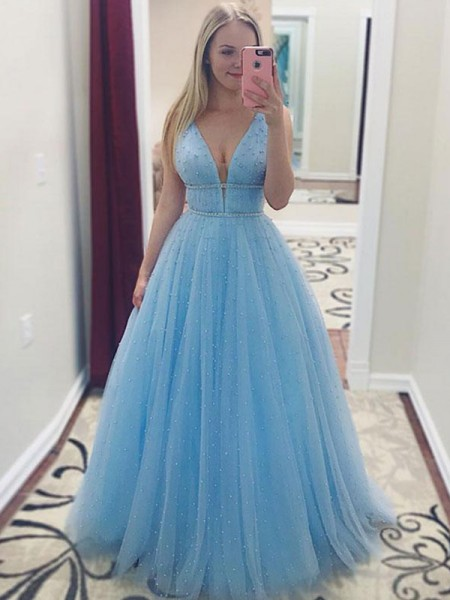 aee4af8d332b A-Line Princess Sleeveless V-neck Floor-Length Pearls Tulle Dresses