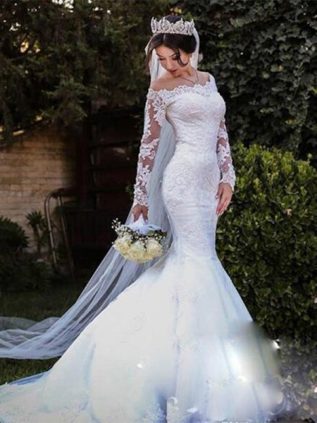 Trumpet/Mermaid Tulle Lace Off-the-Shoulder Long Sleeves Sweep/Brush Train Wedding Dresses
