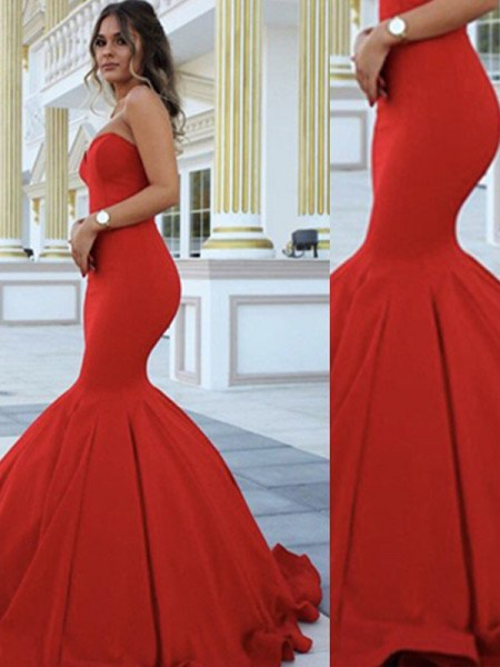 Fashion Trumpet/Mermaid Sleeveless Sweep Train Sweetheart Satin Dresses