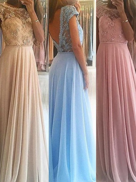 Fashion A-Line/Princess Scoop Floor-Length Sleeveless Beading Chiffon Dresses