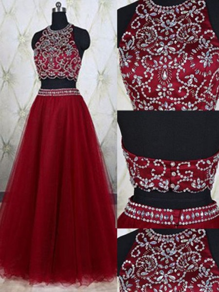 Fashion A-Line/Princess Jewel Tulle Sleeveless Beading Floor-Length Two Piece Dresses
