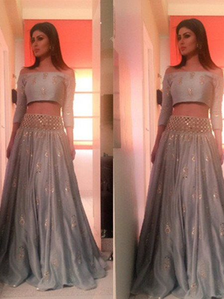 Fashion A-Line/Princess 3/4 Sleeves Floor-Length Off-the-Shoulder Beading Satin Two Piece Dresses