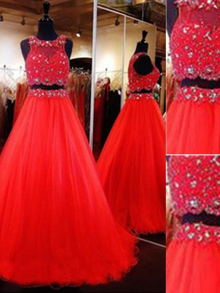 Stylish A-Line/Princess Sleeveless Floor-Length Scoop Beading Tulle Two Piece Dresses