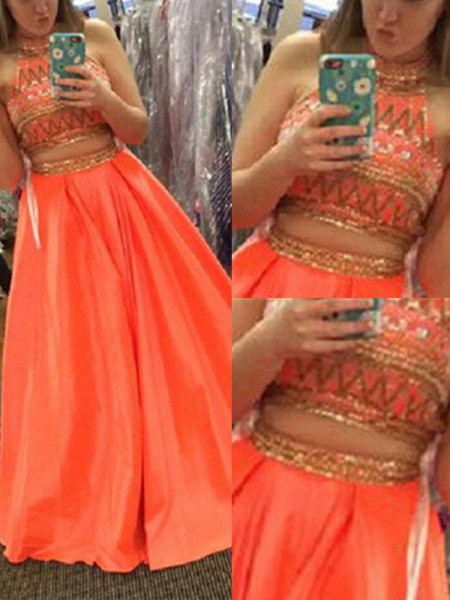 Fashion A-Line/Princess High Neck Satin Sleeveless Beading Floor-Length Two Piece Dresses