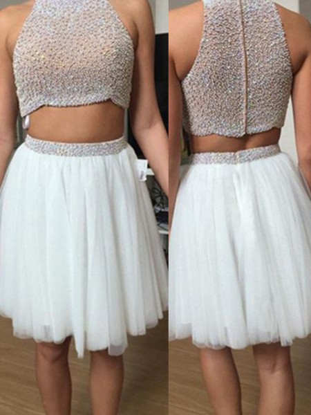 Stylish A-Line/Princess High Neck Tulle Sleeveless Beading Short/Mini Two Piece Dresses