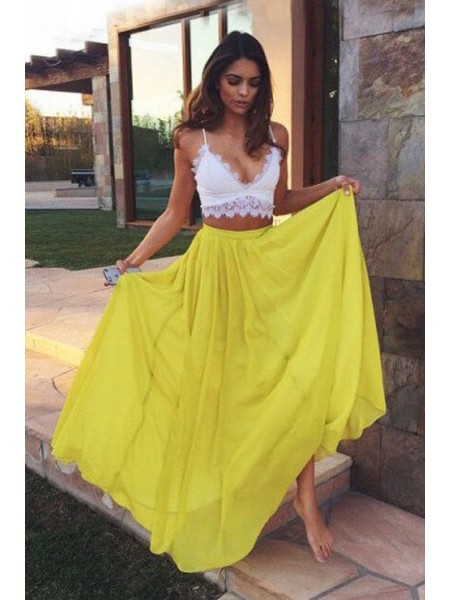 Stylish A-Line/Princess Sleeveless Floor-Length Straps Lace Chiffon Two Piece Dresses