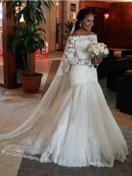 Stylish Trumpet/Mermaid Long Sleeves Lace Off-the-Shoulder Sweep/Brush Train Tulle Wedding Dresses