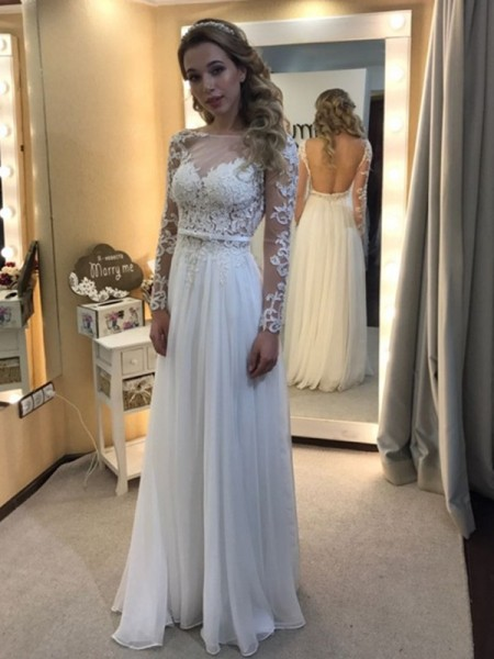 Fashion A-Line/Princess Floor-Length Long Sleeves Bateau Lace Chiffon Wedding Dresses