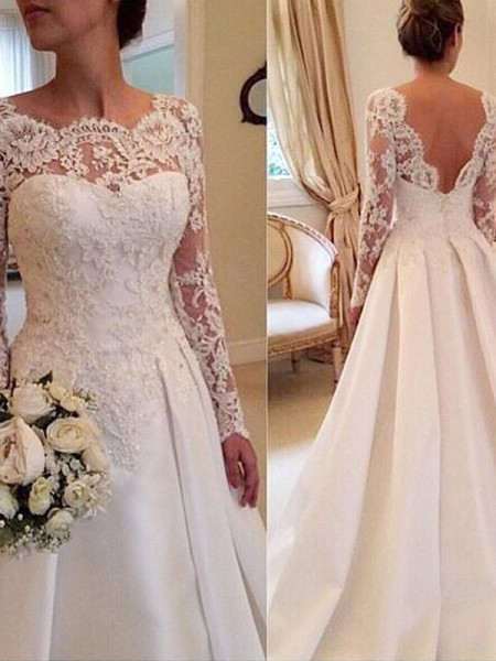 Stylish Ball Gown Long Sleeves Lace Scoop Court Train Satin Wedding Dresses