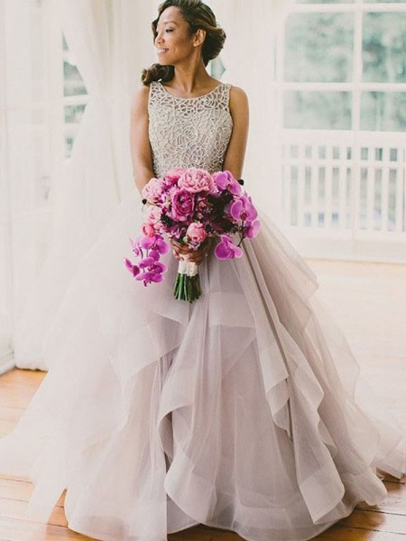 Stylish Ball Gown Scoop Beading Sleeveless Sweep/Brush Train Tulle Wedding Dresses