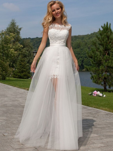Fashion Sheath/Column Lace Scoop Sleeveless Floor-Length Tulle Wedding Dresses