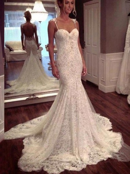 Fashion Trumpet/Mermaid Court Train Sleeveless Spaghetti Straps Lace Wedding Dresses