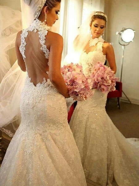 Fashion Trumpet/Mermaid Sleeveless Lace High Neck Court Train Wedding Dresses