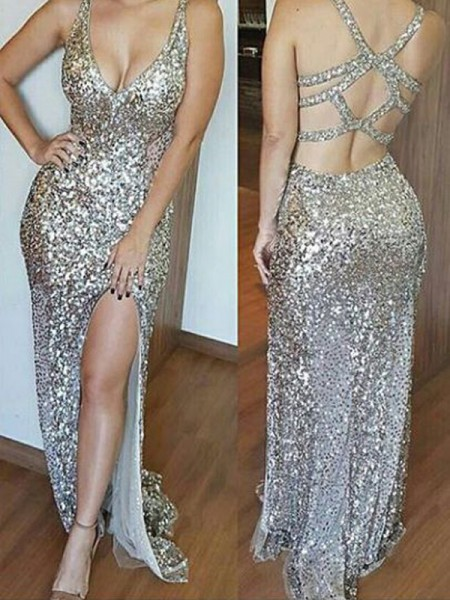 Fashion Sheath/Column V-neck Sweep/Brush Sleeveless Train Sequins Dresses