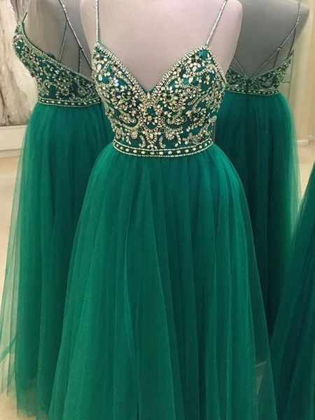 Fashion A-Line/Princess Spaghetti Straps Sleeveless Tulle Floor-Length Beading Dresses