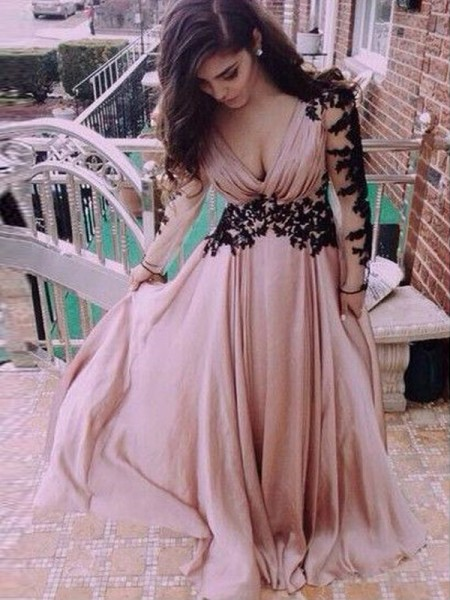 Fashion A-Line/Princess V-neck Chiffon Long Sleeves Applique Floor-Length Dresses
