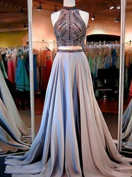 Fashion A-Line/Princess High Neck Satin Sleeveless Floor Length With Beading Two Piece Dresses