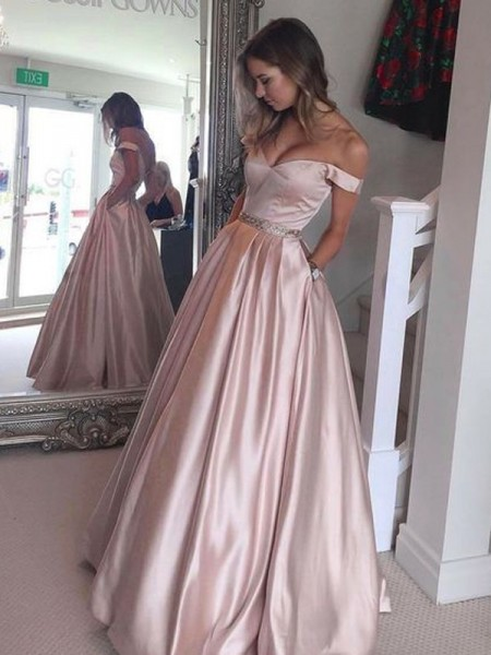 Stylish A-Line/Princess Sleeveless Floor-Length Off-the-Shoulder Satin Dresses